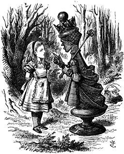 Tenniel illustration of red queen with alice